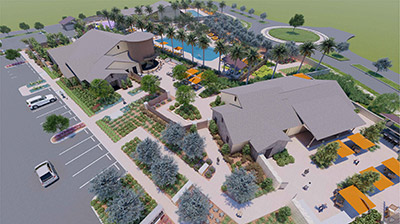Clubhouse aerial rendering
