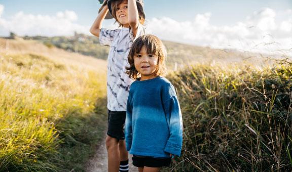 Kids walking on a trail