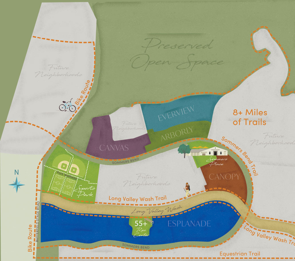 Map of Sommers Bend parks and trails